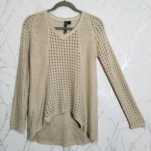 Le Temps Des Cerises Eyelet Knit V-Neck Sweater
